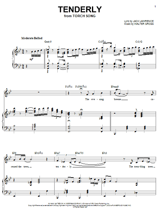 Sarah Vaughan Tenderly sheet music notes and chords