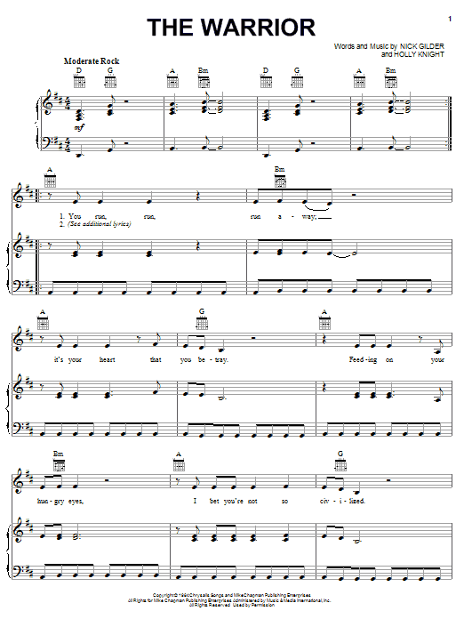 Scandal The Warrior sheet music notes and chords