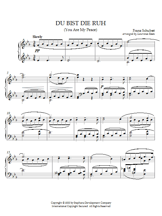 Franz Schubert Du Bist Die Ruh (You Are My Peace) sheet music preview music notes and score for Piano including 4 page(s)