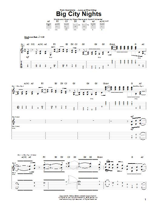 Scorpions Big City Nights sheet music notes and chords