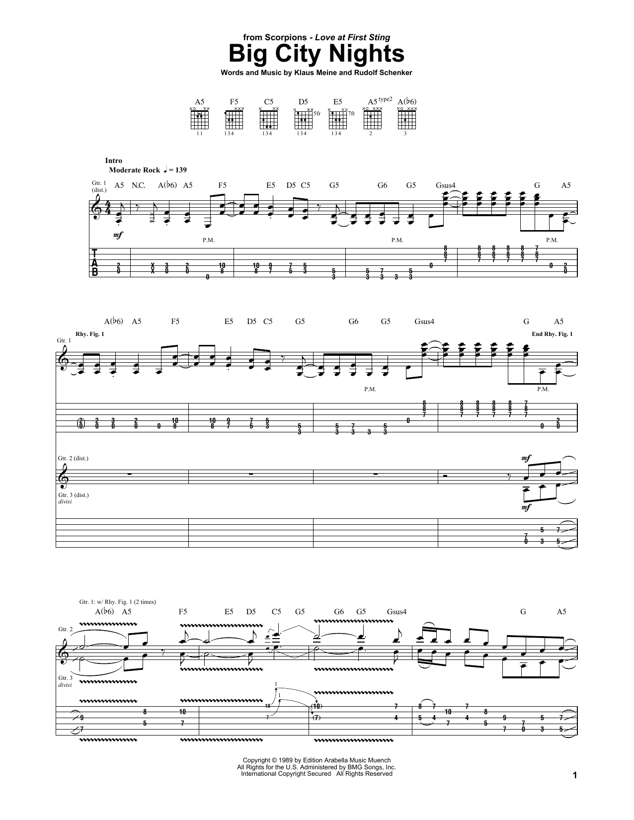 Scorpions Big City Nights sheet music preview music notes and score for Guitar Tab including 12 page(s)