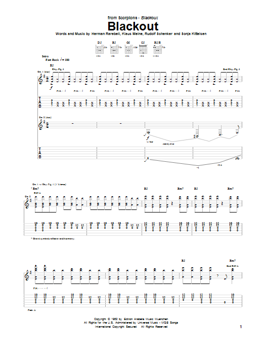 Scorpions Blackout sheet music notes and chords