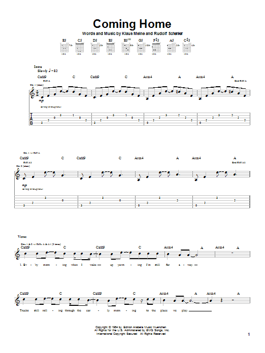 Scorpions Coming Home sheet music notes and chords