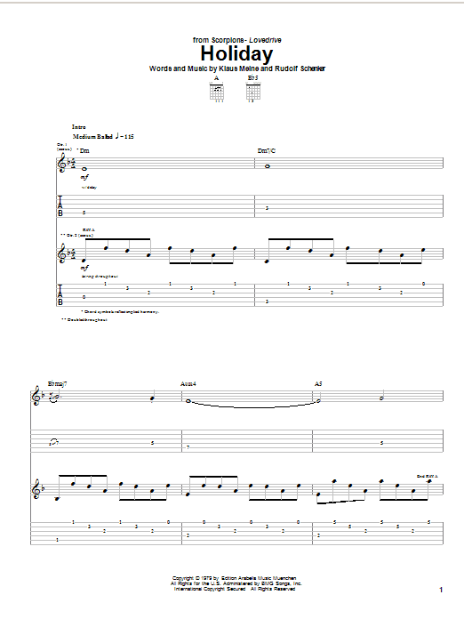 Scorpions Holiday sheet music notes and chords