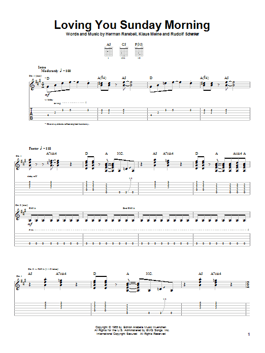 Scorpions Loving You Sunday Morning sheet music notes and chords