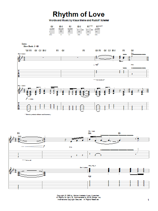 Scorpions Rhythm Of Love sheet music preview music notes and score for Guitar Tab including 11 page(s)