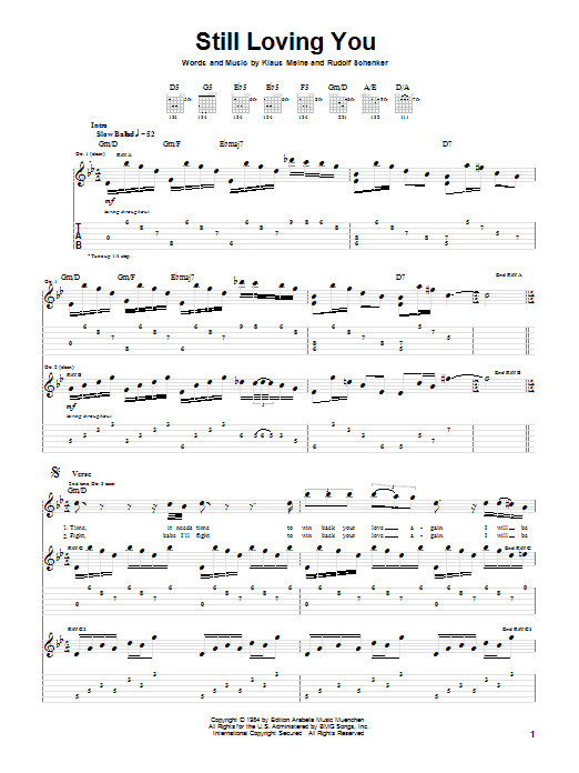 Scorpions Still Loving You sheet music notes and chords