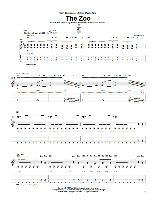 Scorpions The Zoo sheet music preview music notes and score for Guitar Tab including 9 page(s)