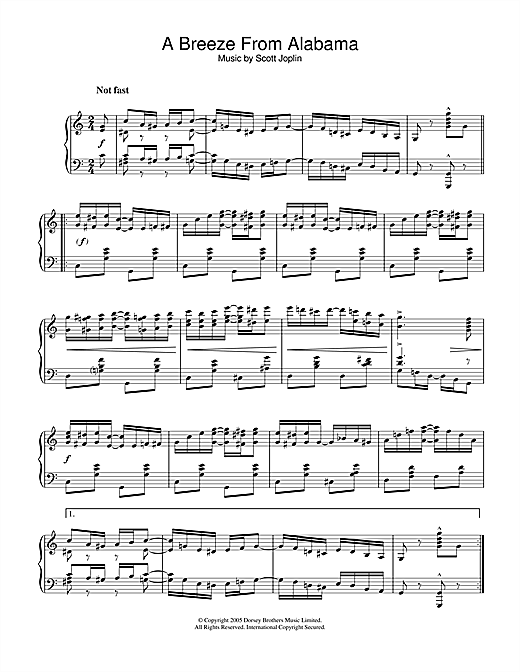 Download Scott Joplin 'A Breeze From Alabama' Digital Sheet Music Notes & Chords and start playing in minutes