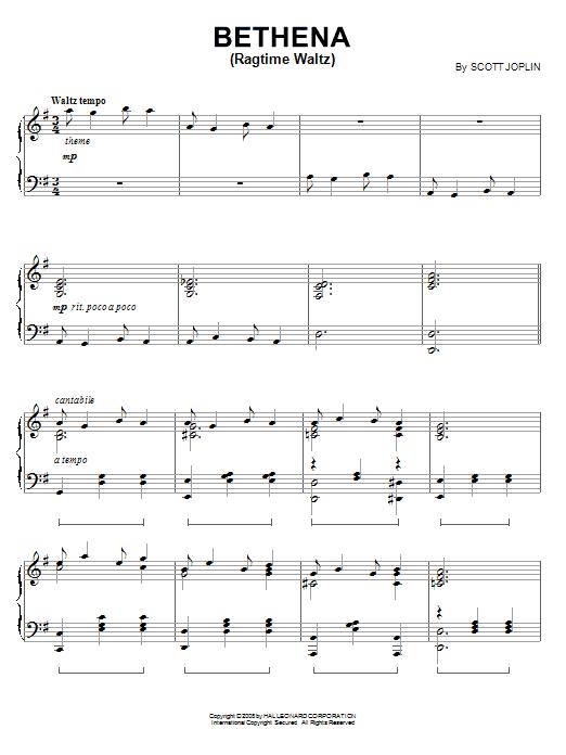 Download Scott Joplin 'Bethena (Ragtime Waltz)' Digital Sheet Music Notes & Chords and start playing in minutes