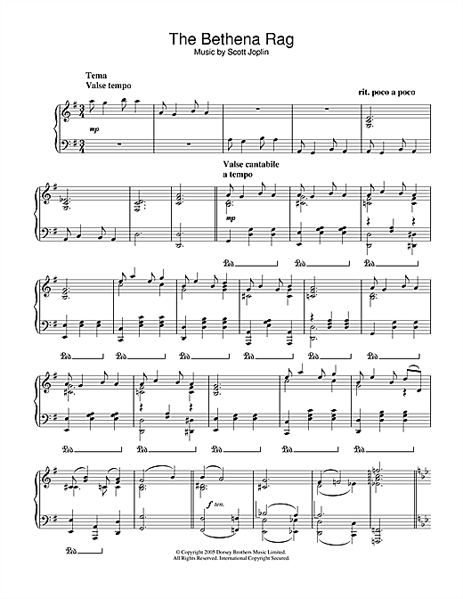 Download Scott Joplin 'Bethena Rag' Digital Sheet Music Notes & Chords and start playing in minutes