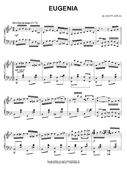 Download Scott Joplin 'Eugenia' Digital Sheet Music Notes & Chords and start playing in minutes