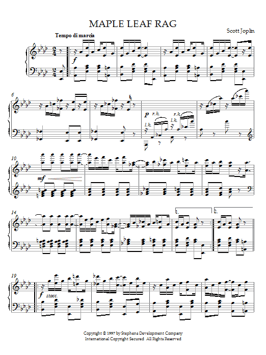 Download Scott Joplin 'Maple Leaf Rag' Digital Sheet Music Notes & Chords and start playing in minutes
