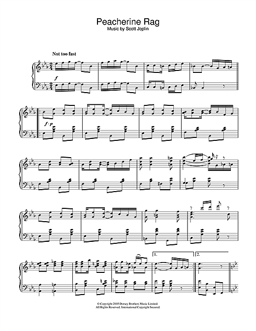 Download Scott Joplin 'Peacherine Rag' Digital Sheet Music Notes & Chords and start playing in minutes
