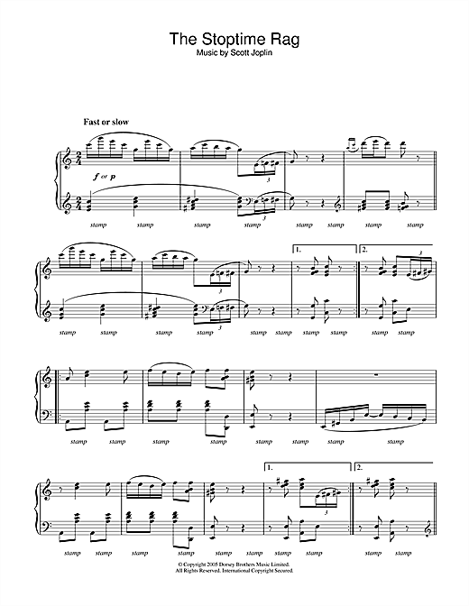 Scott Joplin Stoptime Rag sheet music notes and chords