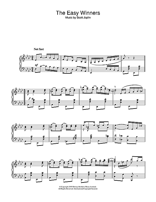 Download Scott Joplin 'The Easy Winners' Digital Sheet Music Notes & Chords and start playing in minutes