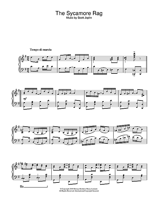 Download Scott Joplin 'The Sycamore' Digital Sheet Music Notes & Chords and start playing in minutes