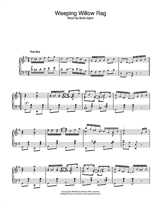 Download Scott Joplin 'Weeping Willow Rag' Digital Sheet Music Notes & Chords and start playing in minutes