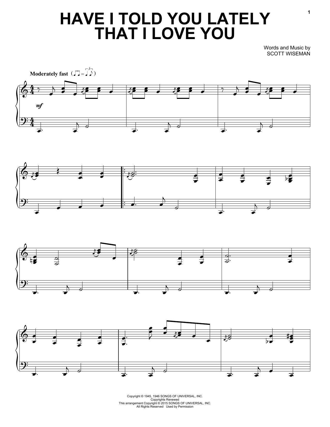 Scott Wiseman Have I Told You Lately That I Love You sheet music notes and chords