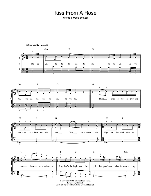 Seal Kiss From A Rose sheet music notes and chords