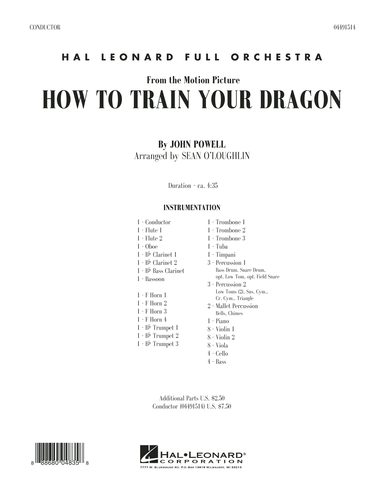 Sean O'Loughlin How to Train Your Dragon - Conductor Score (Full Score) sheet music preview music notes and score for Full Orchestra including 24 page(s)