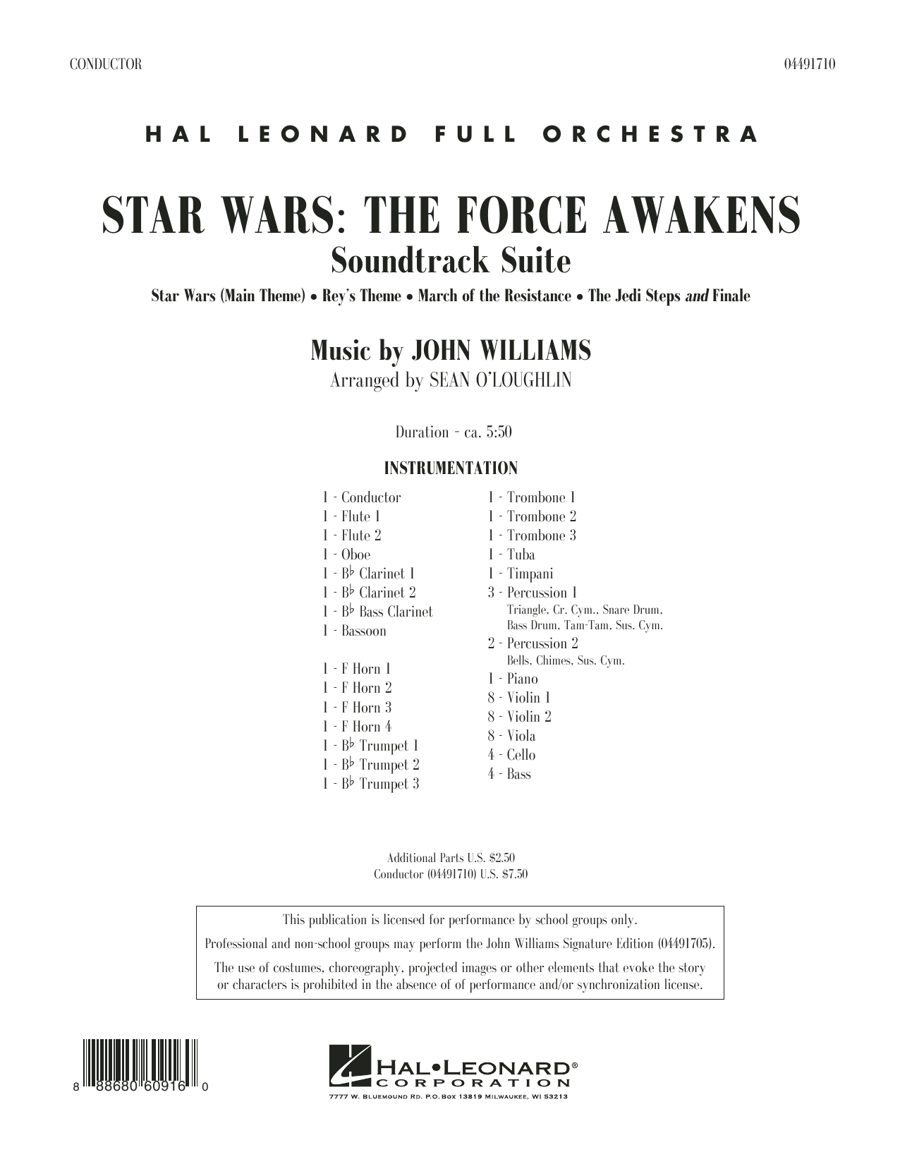 Sean O'Loughlin Star Wars: The Force Awakens Soundtrack Suite - Conductor Score (Full Score) sheet music preview music notes and score for Full Orchestra including 32 page(s)