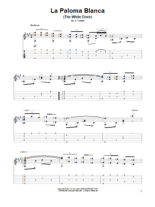 Sebastian Yradier La Paloma Blanca (The White Dove) sheet music preview music notes and score for Guitar Tab including 3 page(s)