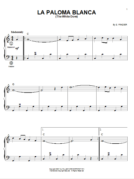 Sebastian Yradier La Paloma Blanca (The White Dove) sheet music preview music notes and score for Guitar Tab including 2 page(s)