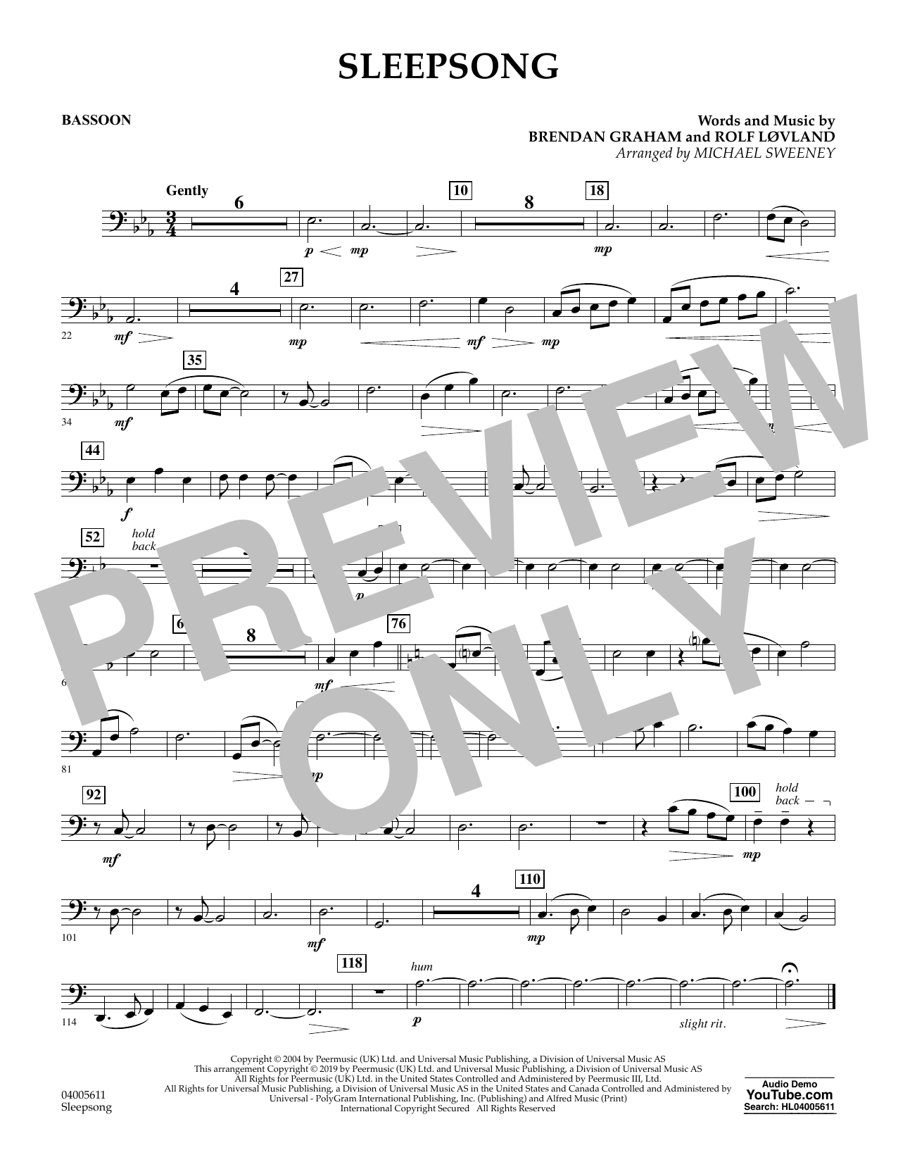 Secret Garden Sleepsong (arr. Michael Sweeney) - Bassoon sheet music preview music notes and score for Concert Band including 1 page(s)
