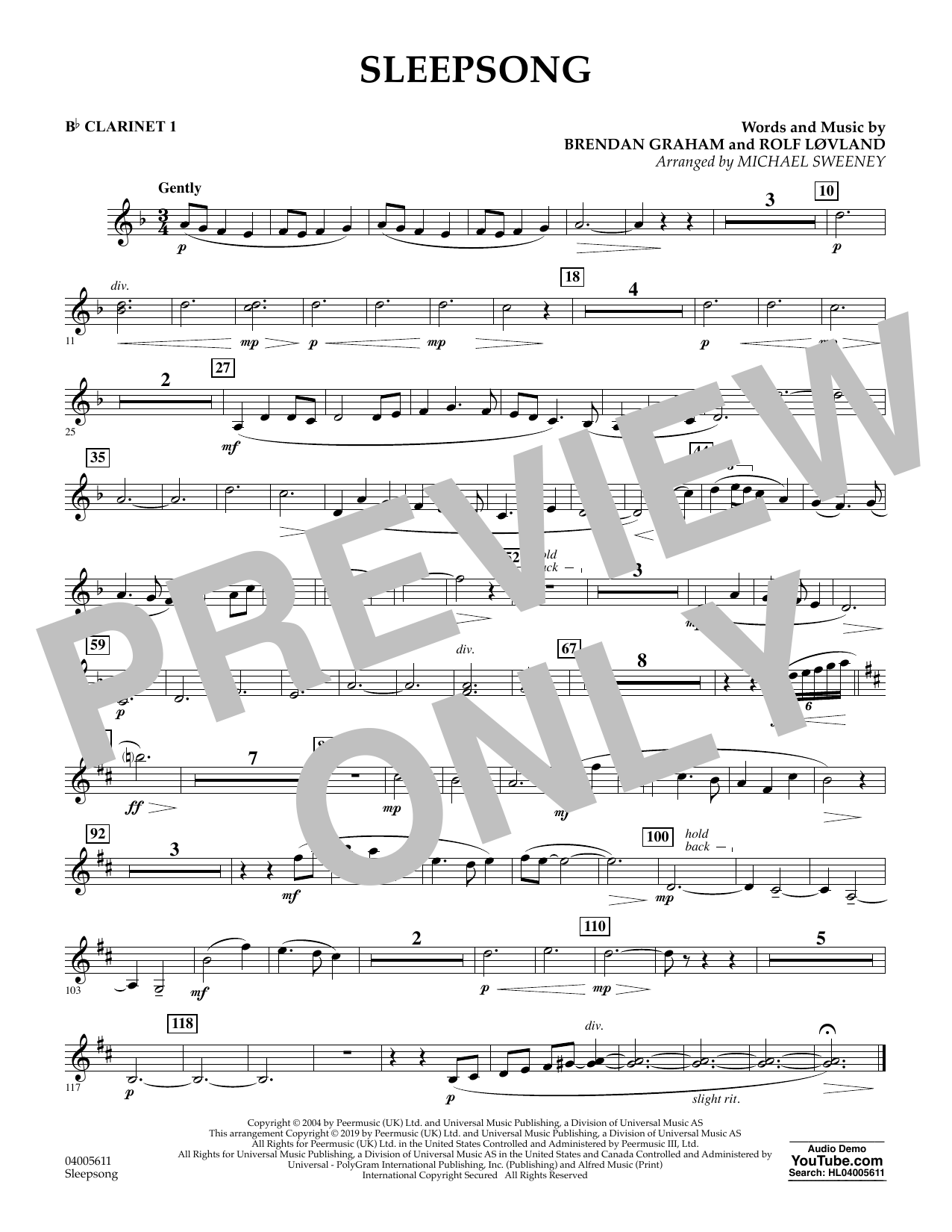 Secret Garden Sleepsong (arr. Michael Sweeney) - Bb Clarinet 1 sheet music preview music notes and score for Concert Band including 1 page(s)