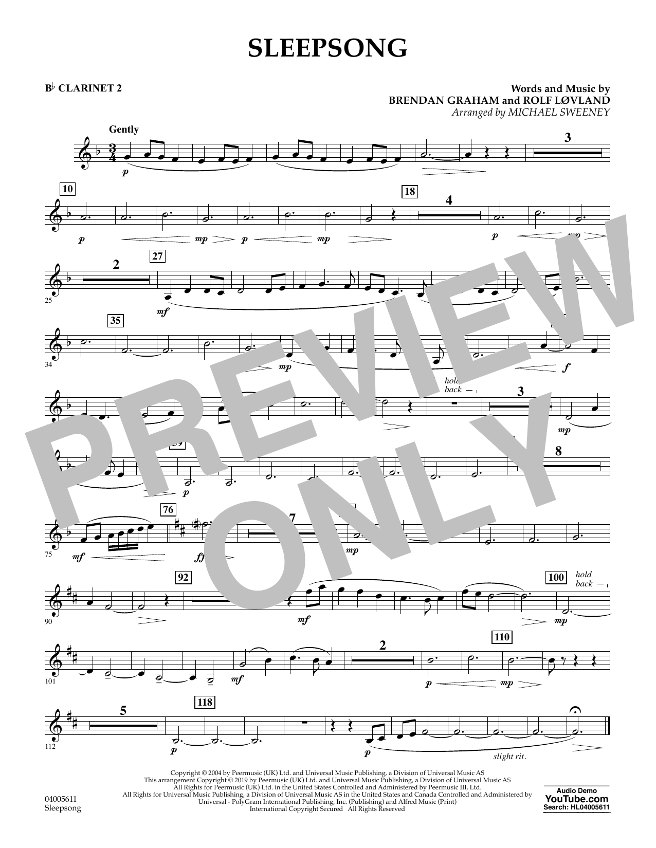 Secret Garden Sleepsong (arr. Michael Sweeney) - Bb Clarinet 2 sheet music preview music notes and score for Concert Band including 1 page(s)