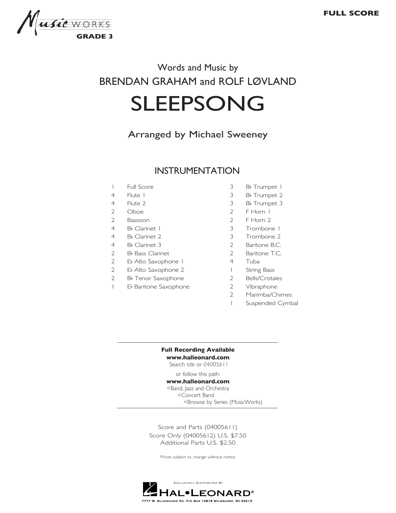 Secret Garden Sleepsong (arr. Michael Sweeney) - Conductor Score (Full Score) sheet music preview music notes and score for Concert Band including 20 page(s)