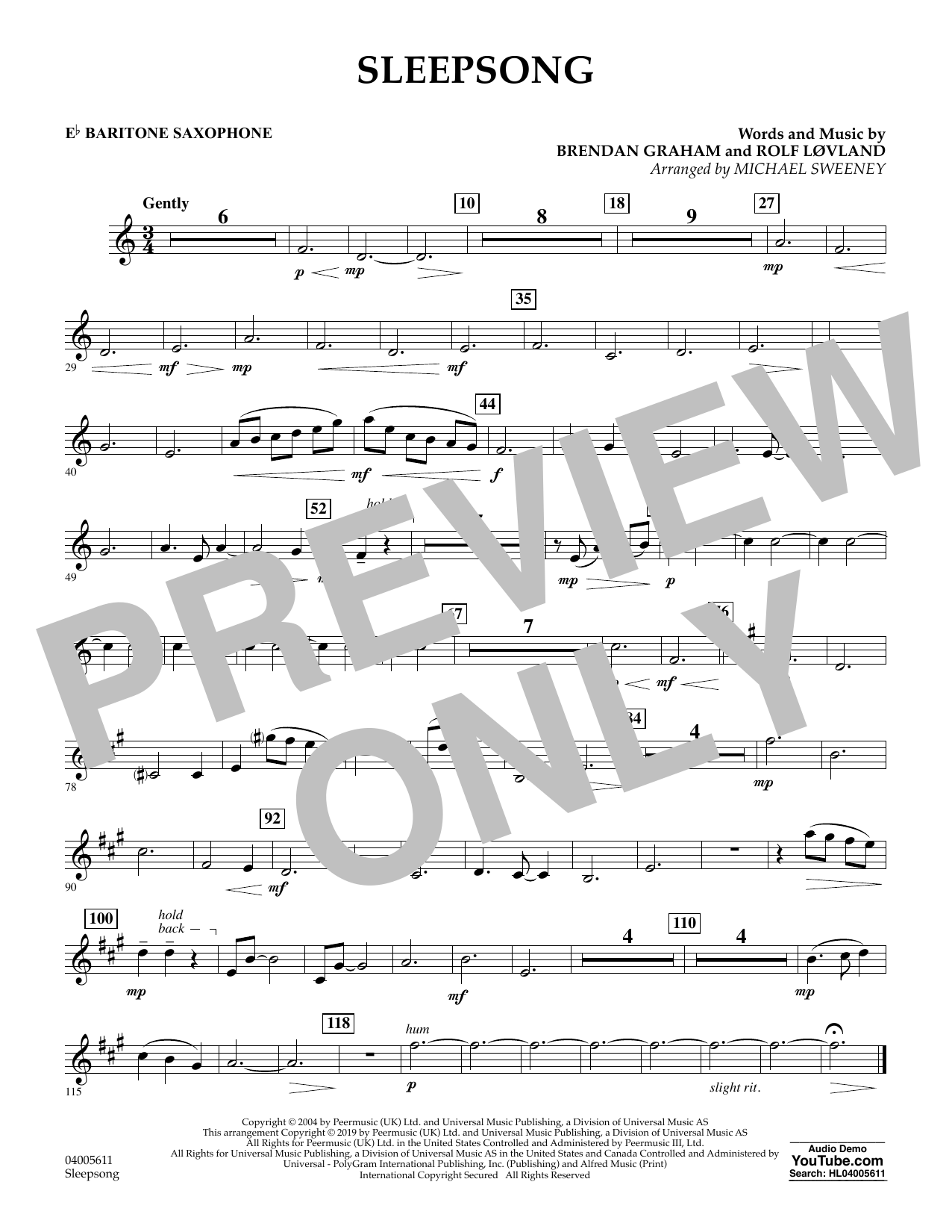 Secret Garden Sleepsong (arr. Michael Sweeney) - Eb Baritone Saxophone sheet music preview music notes and score for Concert Band including 1 page(s)