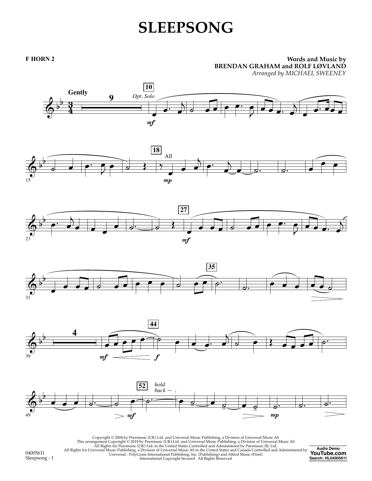Secret Garden Sleepsong (arr. Michael Sweeney) - F Horn 2 sheet music preview music notes and score for Concert Band including 2 page(s)