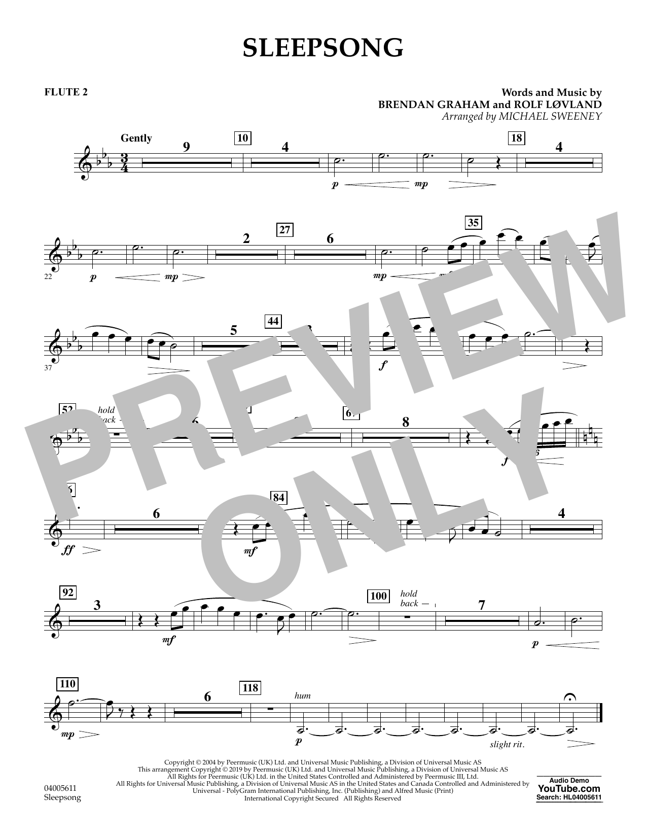 Secret Garden Sleepsong (arr. Michael Sweeney) - Flute 2 sheet music preview music notes and score for Concert Band including 1 page(s)