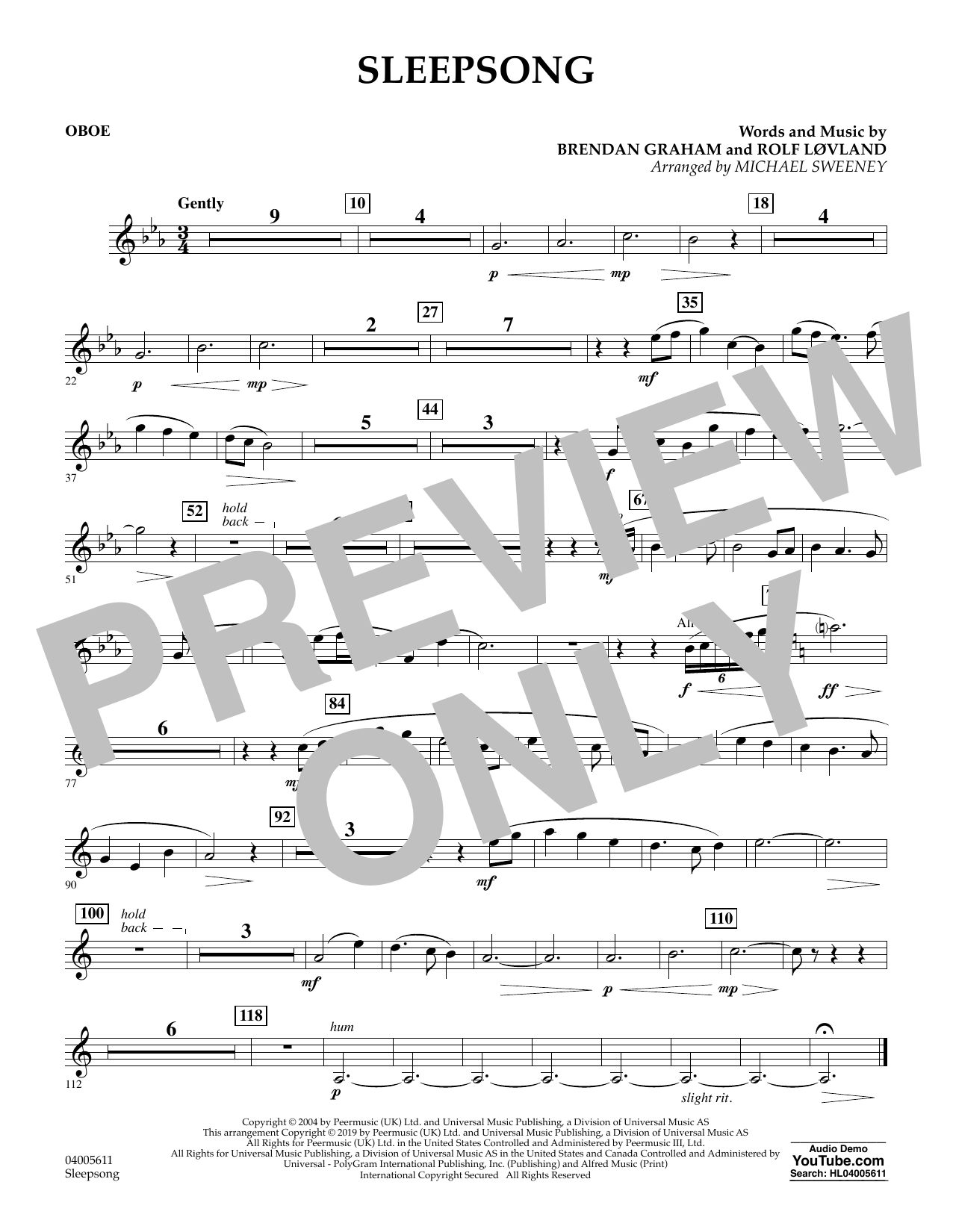 Secret Garden Sleepsong (arr. Michael Sweeney) - Oboe sheet music preview music notes and score for Concert Band including 1 page(s)