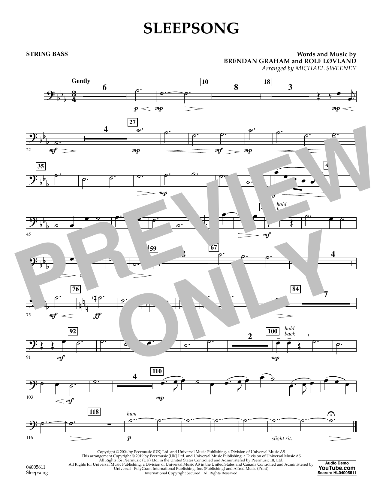 Secret Garden Sleepsong (arr. Michael Sweeney) - String Bass sheet music preview music notes and score for Concert Band including 1 page(s)