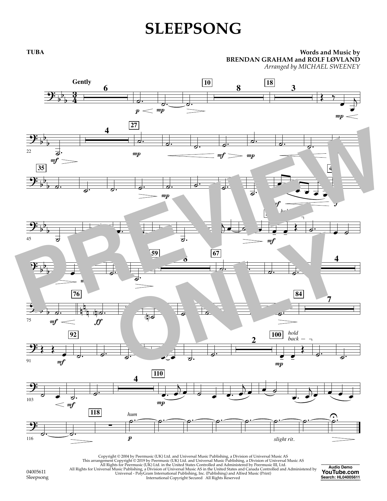Secret Garden Sleepsong (arr. Michael Sweeney) - Tuba sheet music preview music notes and score for Concert Band including 1 page(s)