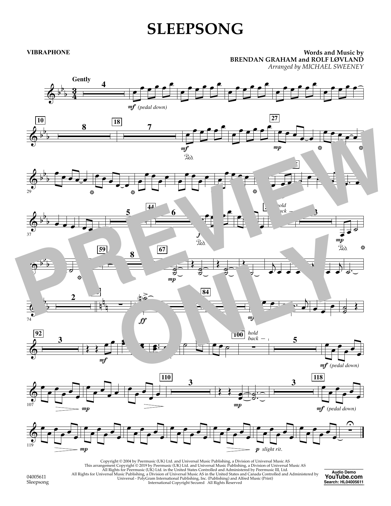 Secret Garden Sleepsong (arr. Michael Sweeney) - Vibraphone sheet music preview music notes and score for Concert Band including 1 page(s)
