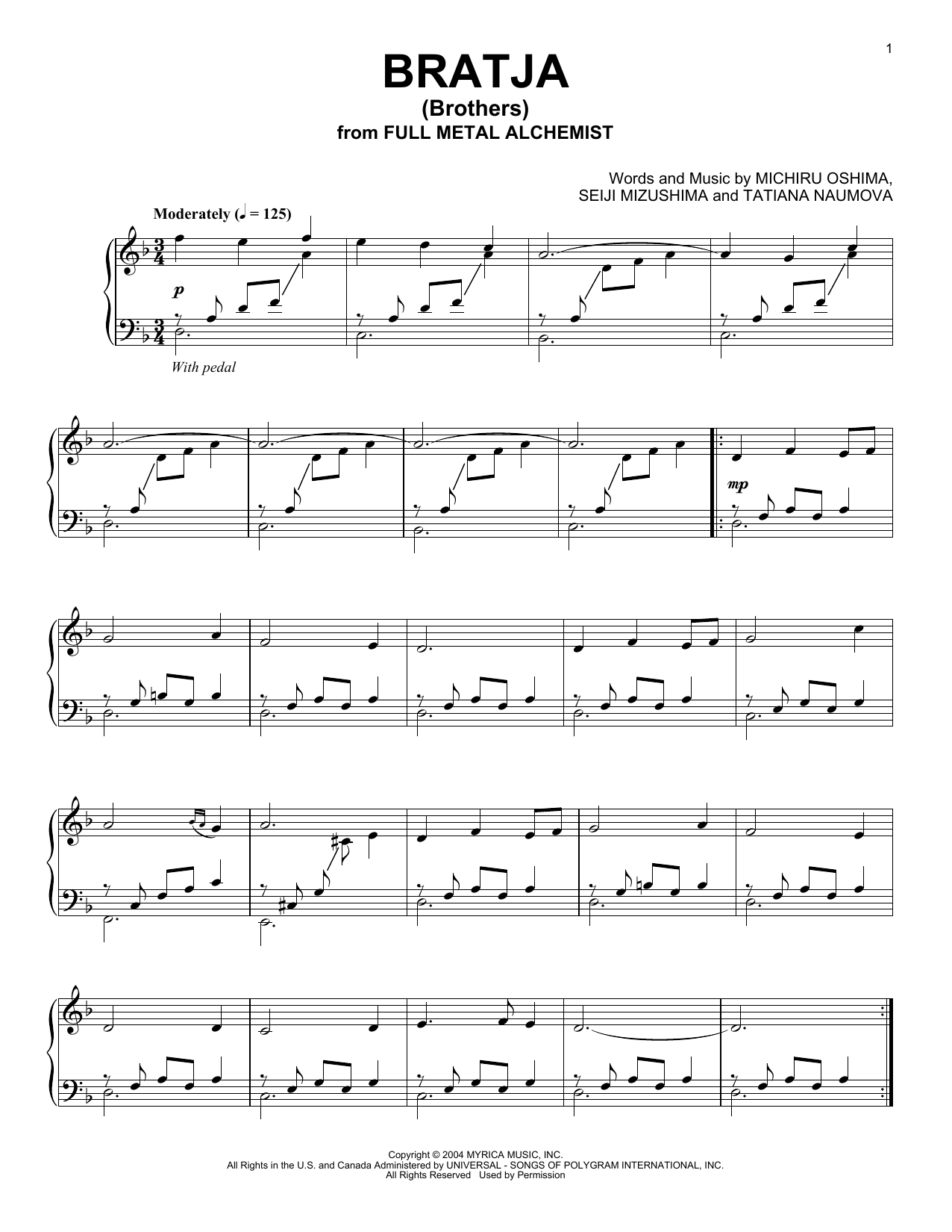 Seiji Mizushima Bratja (Brothers) sheet music preview music notes and score for Piano including 5 page(s)