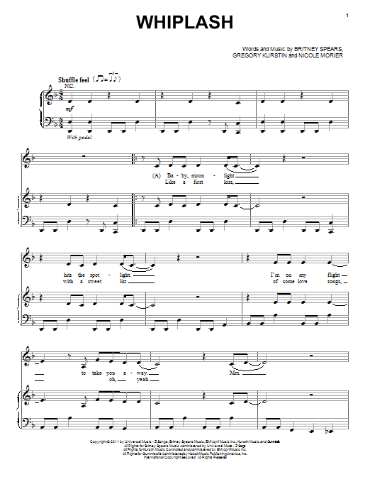 Selena Gomez Whiplash sheet music preview music notes and score for Piano, Vocal & Guitar (Right-Hand Melody) including 6 page(s)