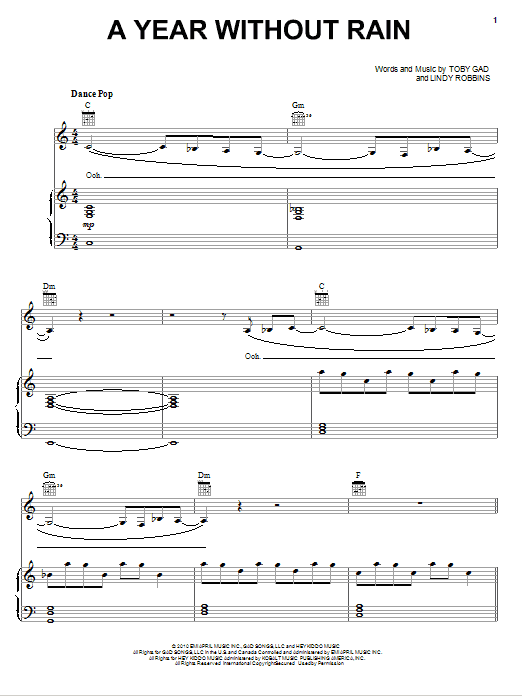 Download Selena Gomez & The Scene 'A Year Without Rain' Digital Sheet Music Notes & Chords and start playing in minutes