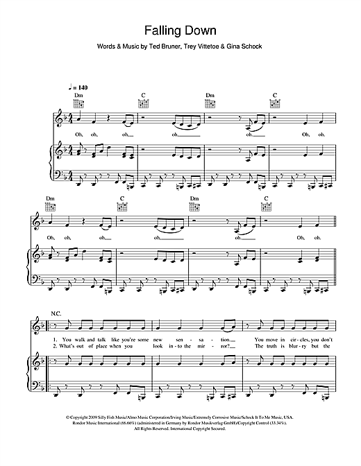 Download Selena Gomez & The Scene 'Falling Down' Digital Sheet Music Notes & Chords and start playing in minutes