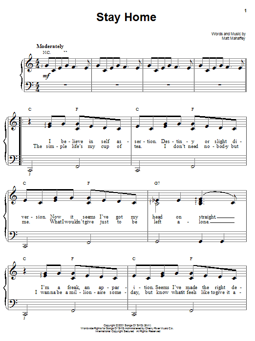 Self Stay Home sheet music notes and chords