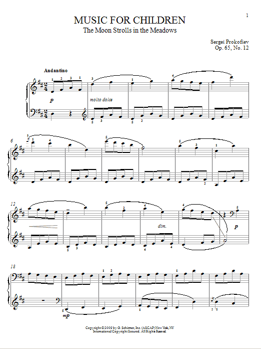 Sergei Prokofiev The Moon Strolls In The Meadows sheet music notes and chords