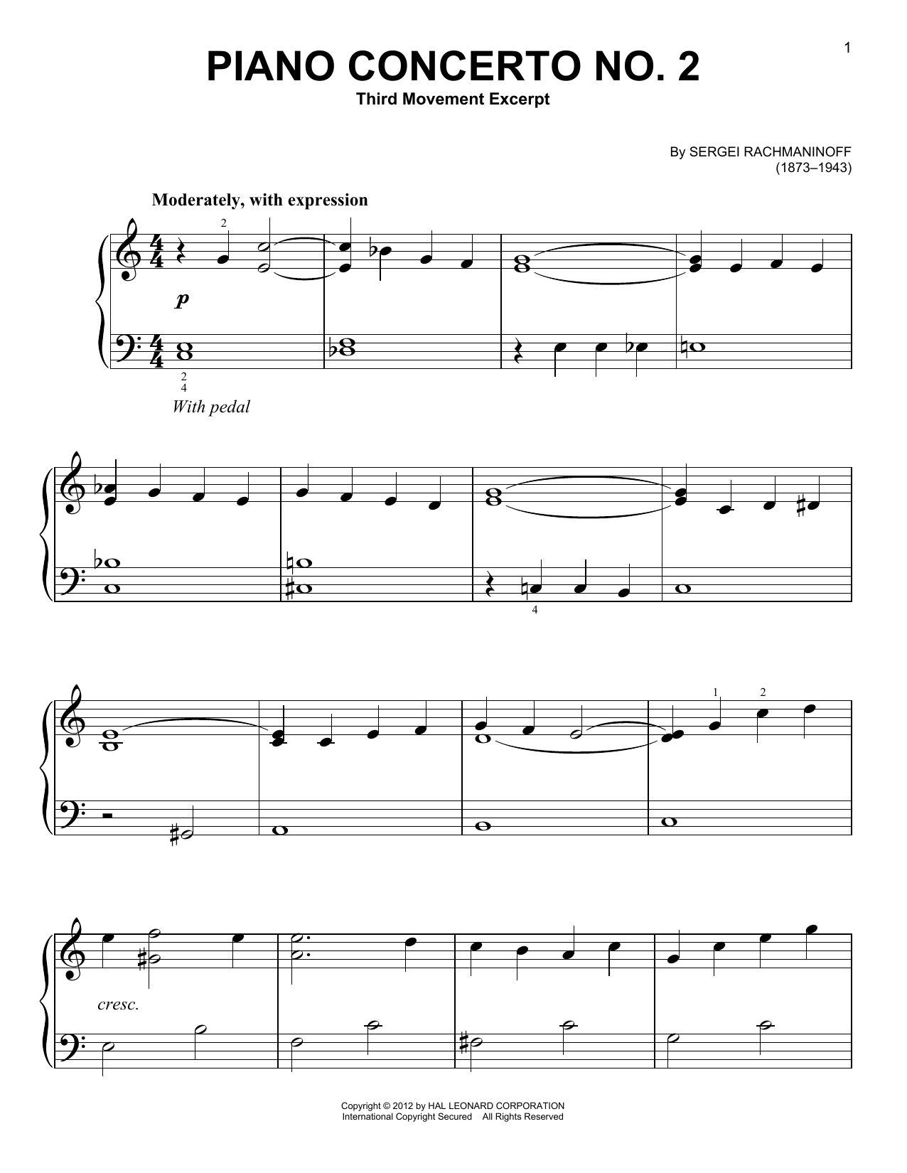 Download Sergei Rachmaninoff 'Piano Concerto No. 2, Third Movement Excerpt' Digital Sheet Music Notes & Chords and start playing in minutes