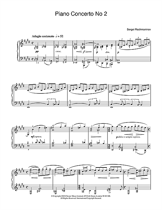 Sergei Rachmaninoff Piano Concerto No 2 sheet music notes and chords