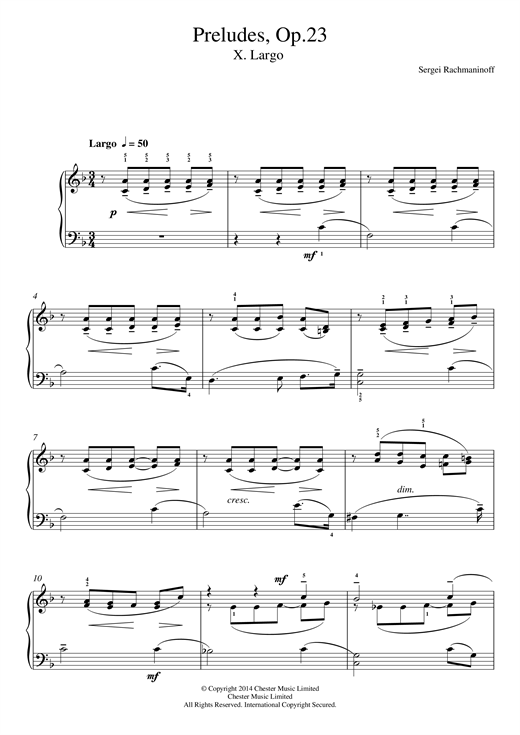 Download Sergei Rachmaninoff 'Preludes Op.23, No.10 Largo' Digital Sheet Music Notes & Chords and start playing in minutes