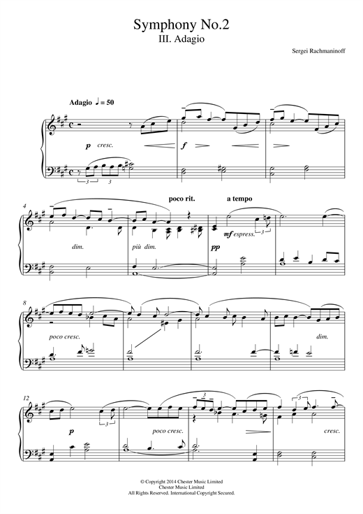 Download Sergei Rachmaninoff 'Symphony No.2 - 3rd Movement' Digital Sheet Music Notes & Chords and start playing in minutes