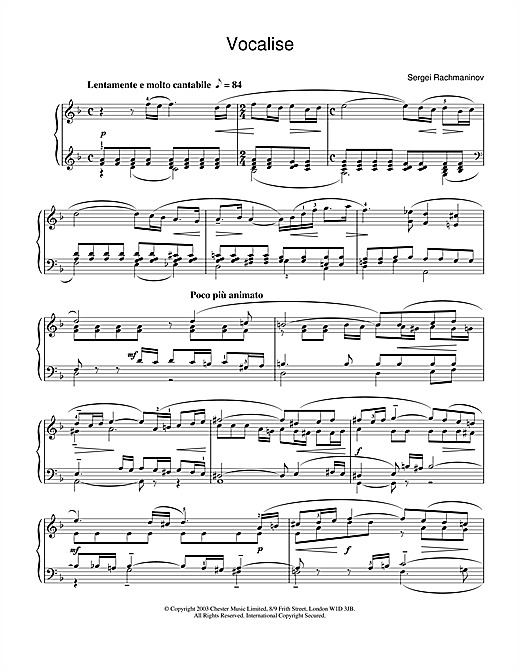 Sergei Rachmaninoff Vocalise sheet music notes and chords